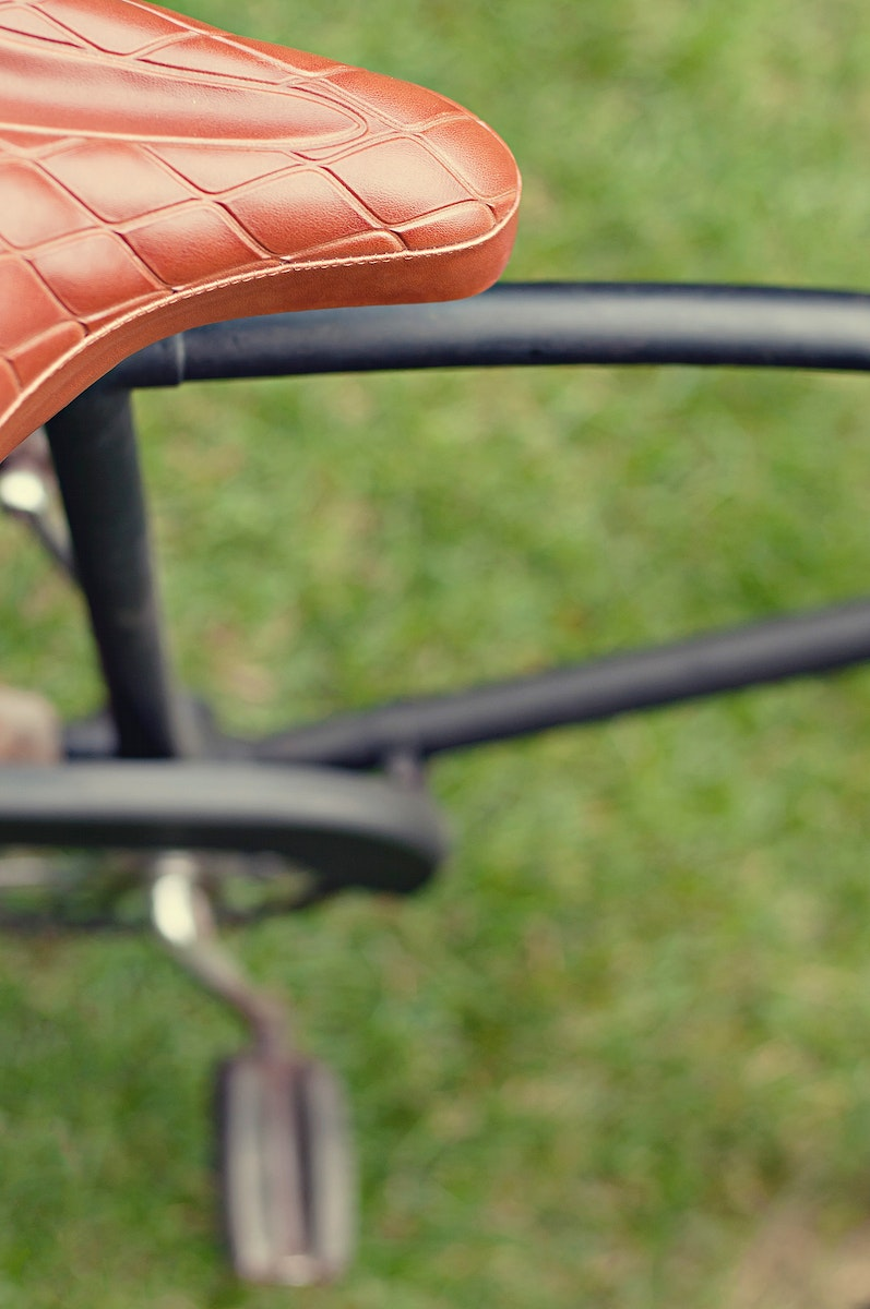 Close up of a black bicycle