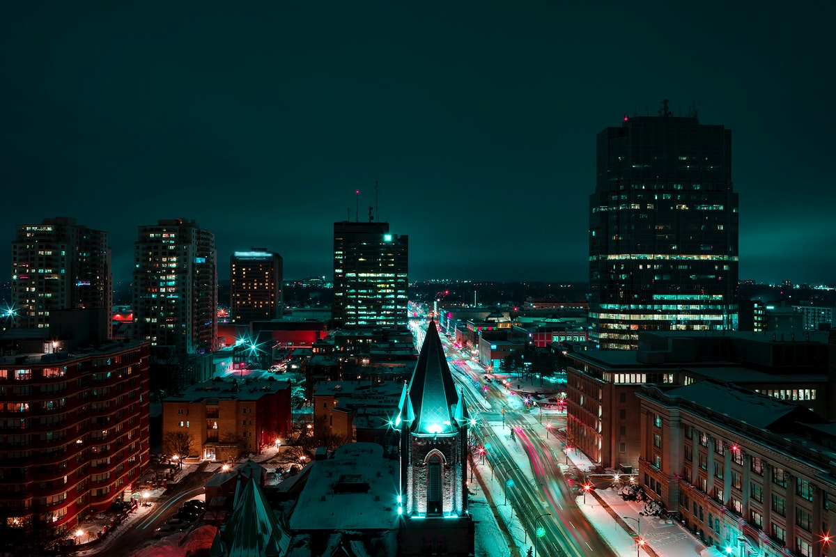 Night view of London, Canada