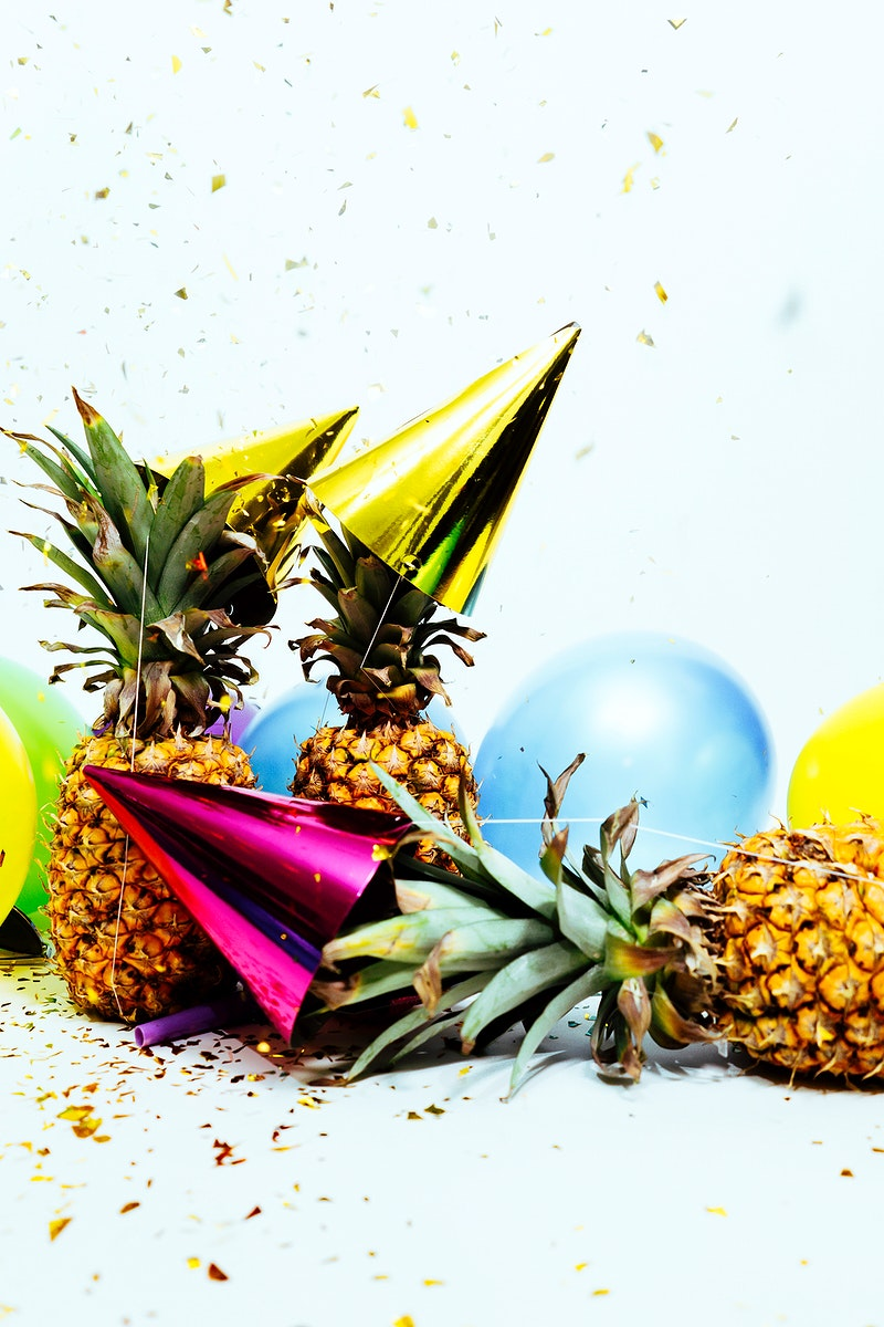 Festive ripe pineapples ready to party