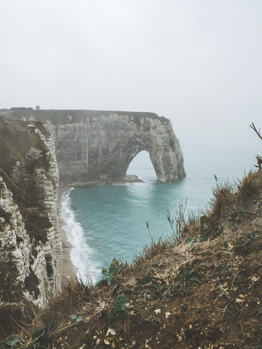 Chalk cliffs at Porte d'Amont in Étretat, France