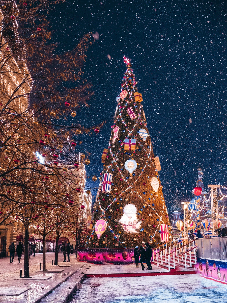 Christmas night in Moscow, Russia