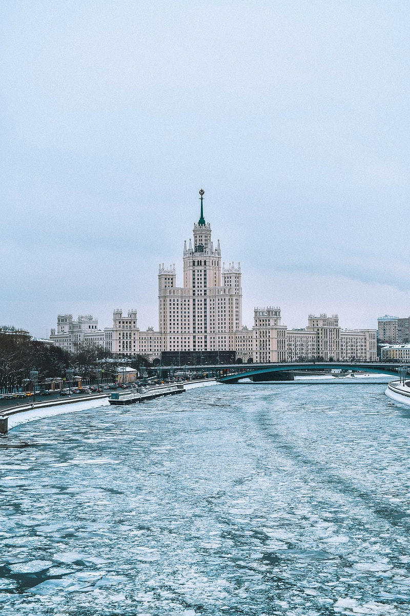 Main building of Moscow State University in winter of Russia