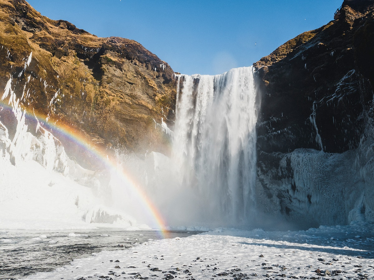 View of Skógafoss waterfall in Iceland