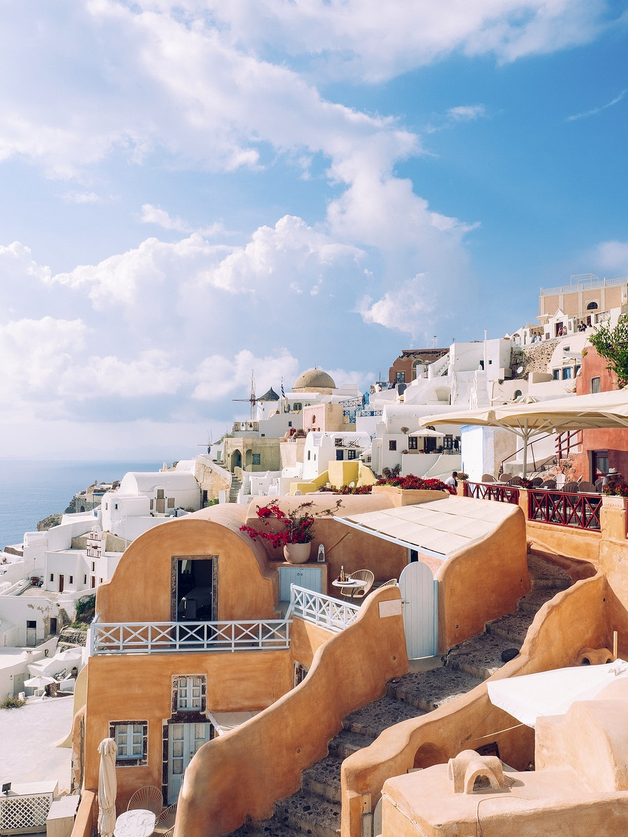 View of Oia traditional cave houses in Santorini, Greece