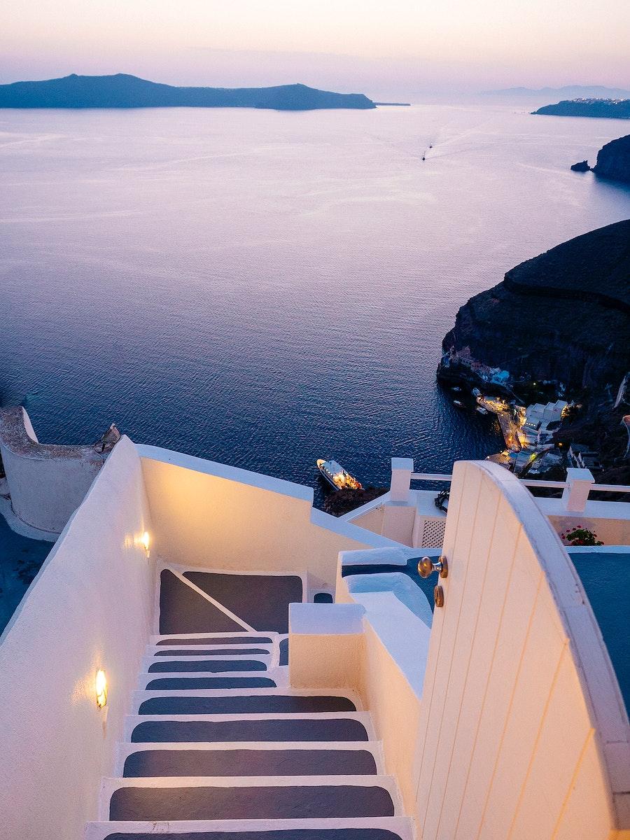 Scenic of Aegean sea from Oia village in Santorini, Greece