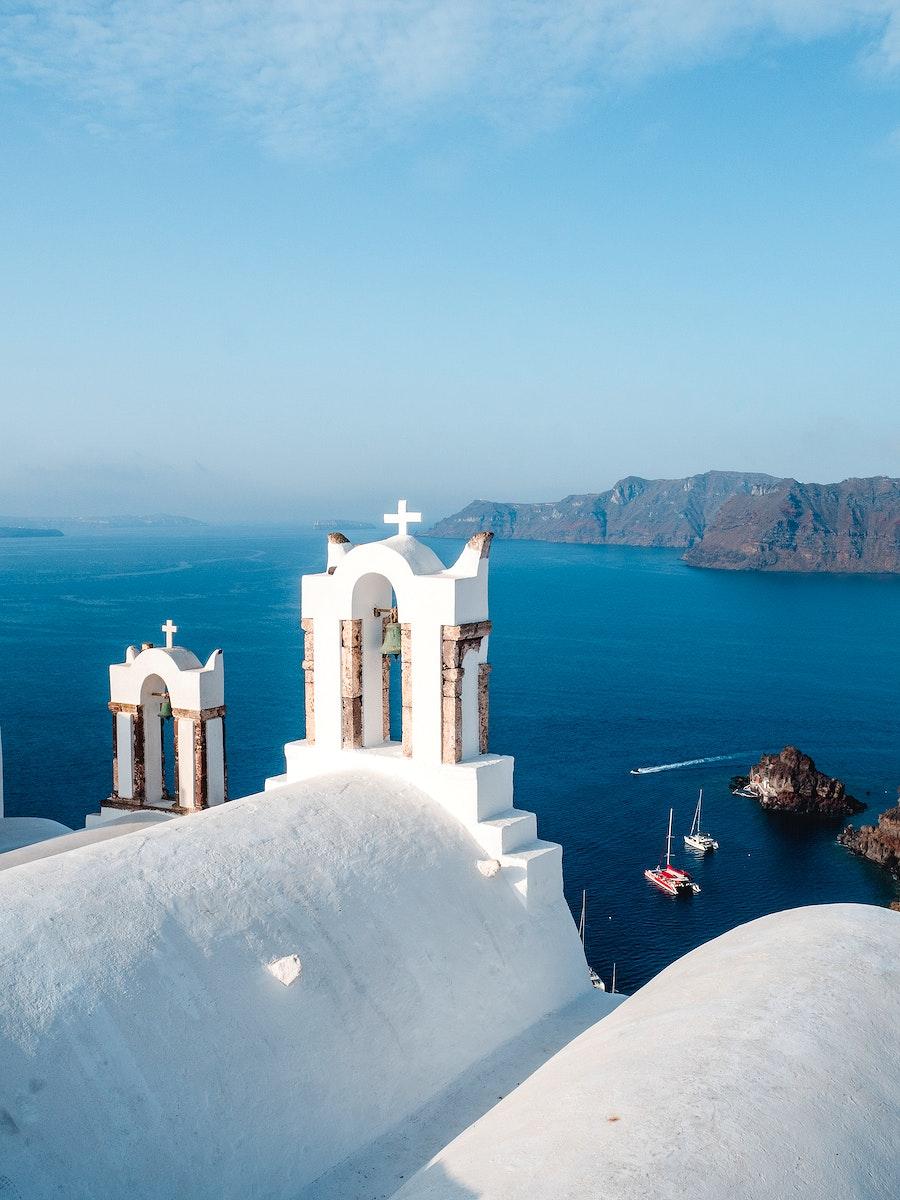 View of Oia church in Santorini, Greece