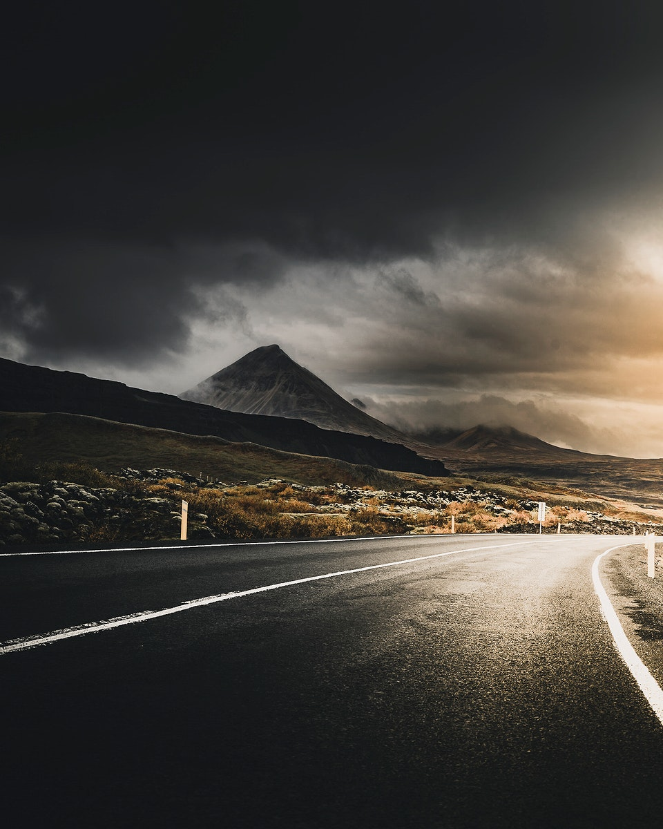 Quiet road through the Westfjords of Iceland