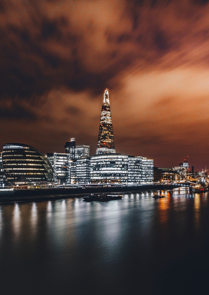 Fiery skies and the Shard in London, United Kingdom