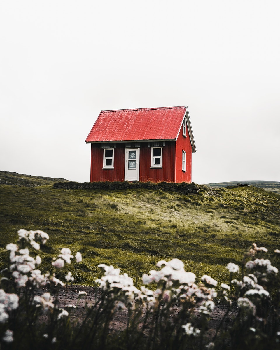 Red cabin in the Westfjords of Iceland