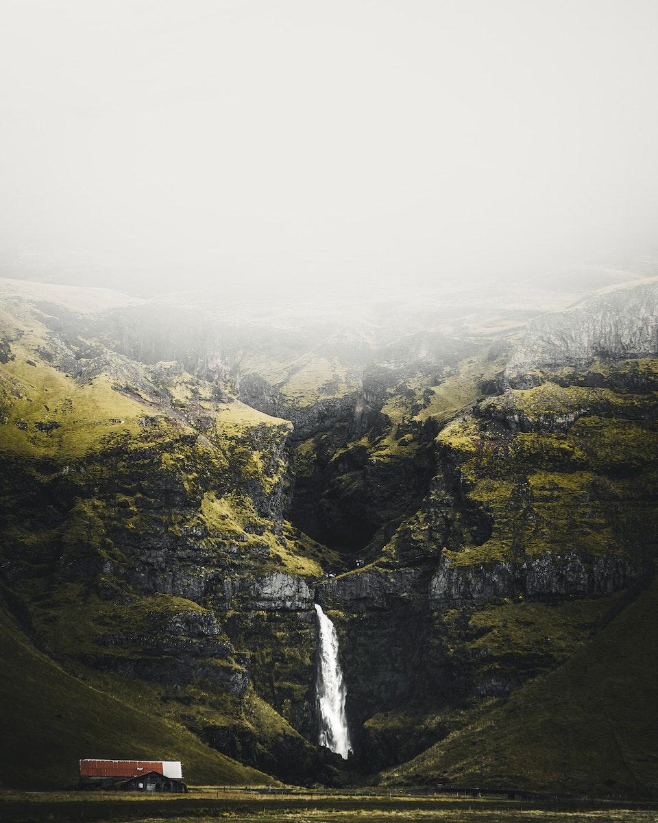 Skogafoss waterfall in the Icelandic nature