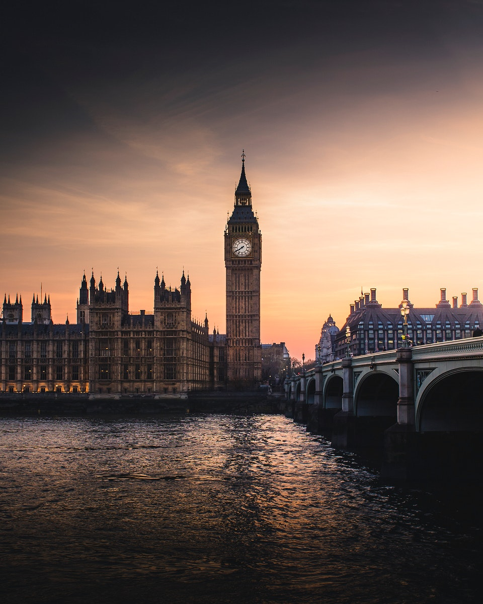 Big Ben by the river Thames in London