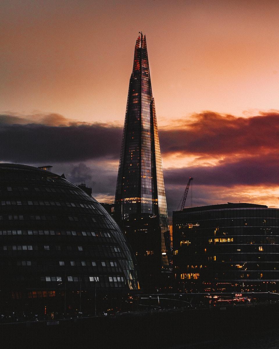 Inner city London at dusk