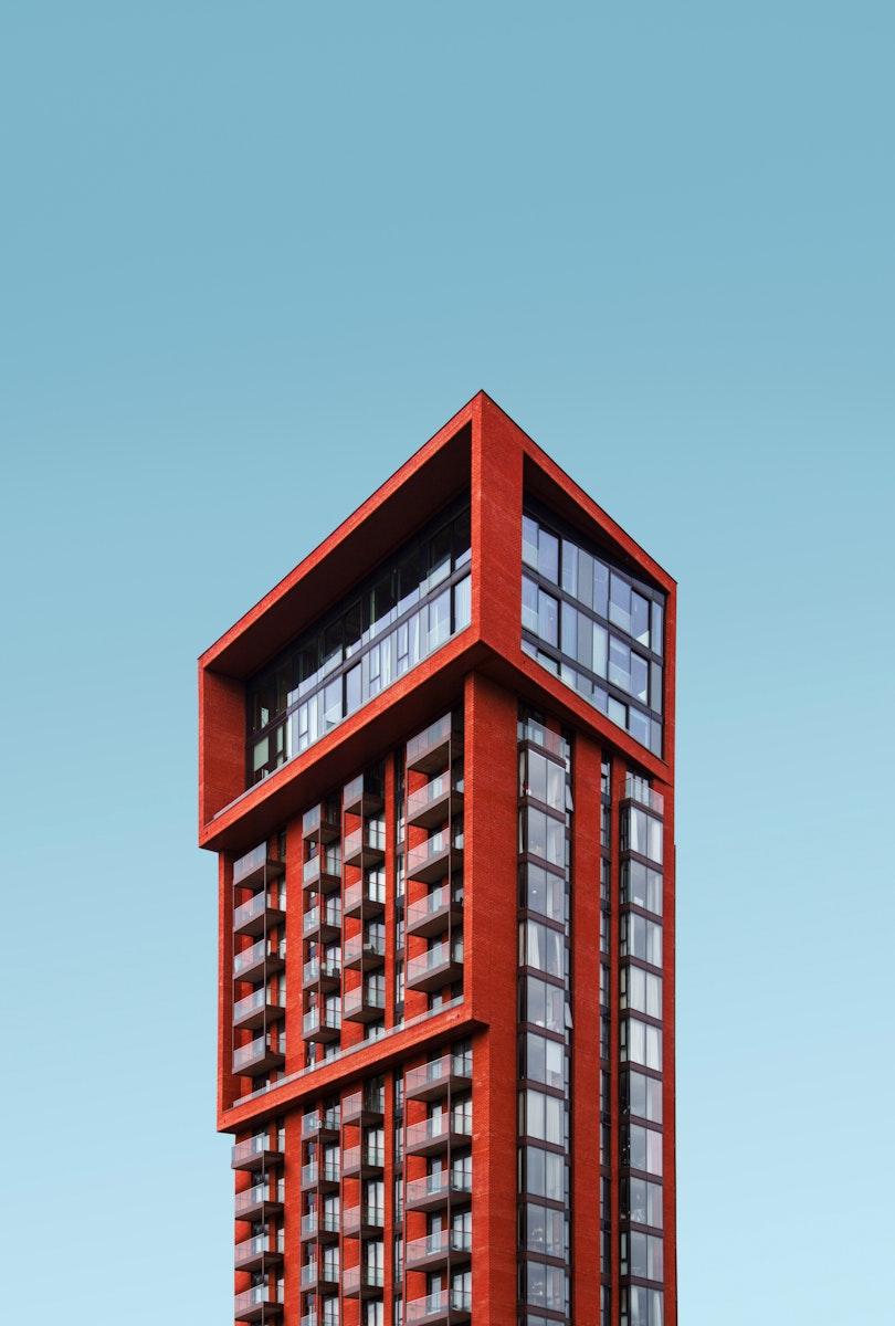 Modern red building in London, United Kingdom
