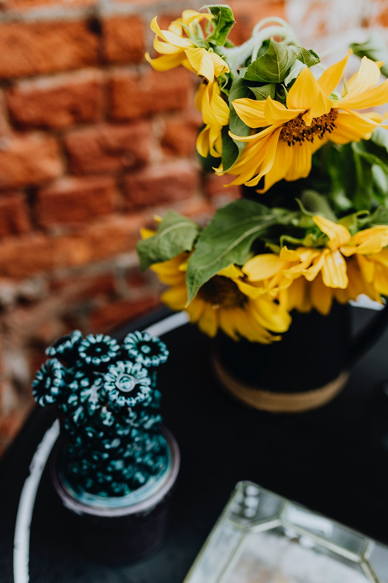 Beautiful sunflowers in vase. Visit Kaboompics for more free images.
