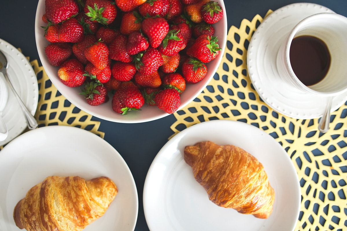 Fresh croissants on a breakfast table. Visit Kaboompics for more free images.