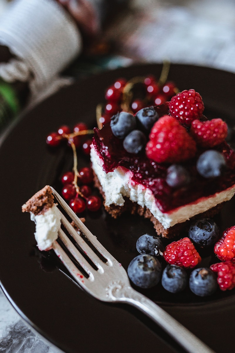 Piece of raspberry cake. Visit Kaboompics for more free images.