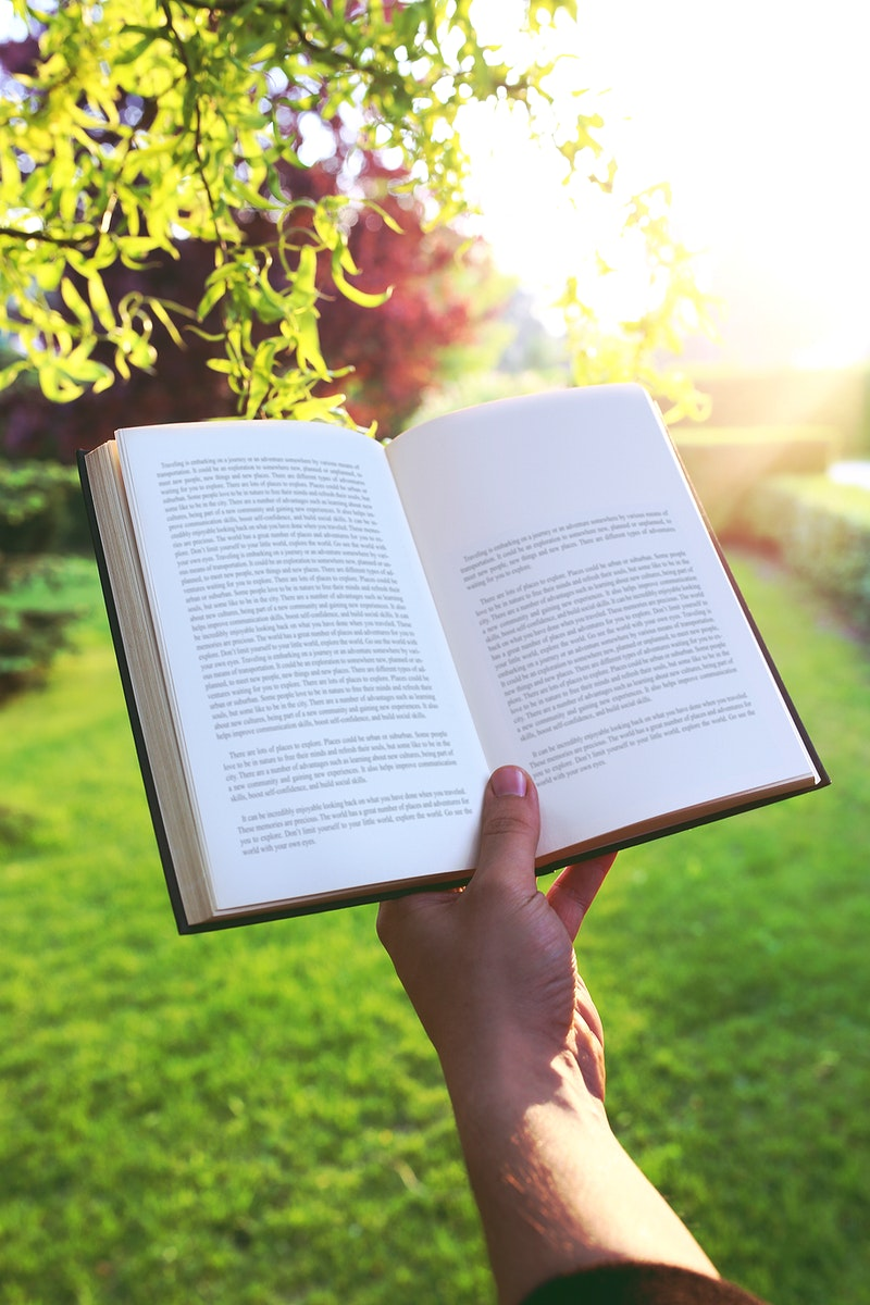 Reading a book in the summer. Visit Kaboompics for more free images.