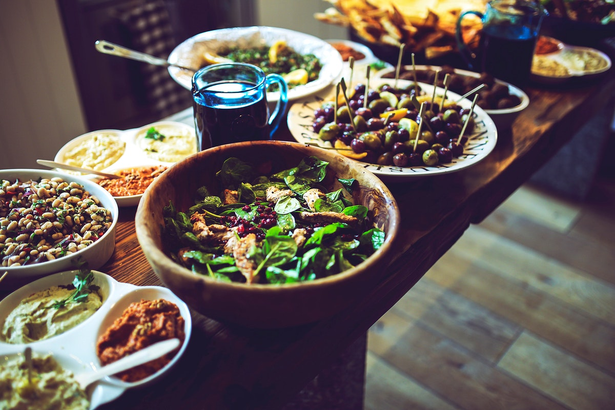 Buffet of Lebanese food. Visit Kaboompics for more free images.