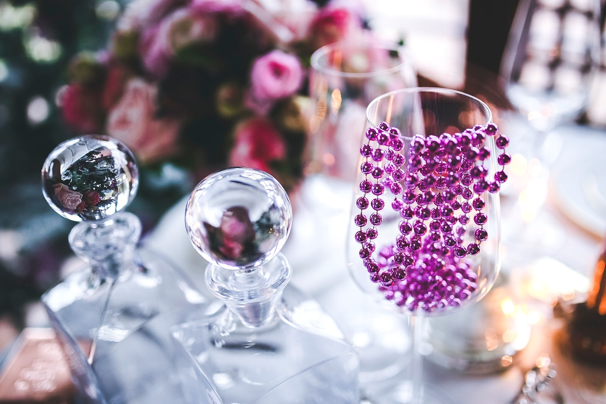 Decorative glasses on display. Visit Kaboompics for more free images.