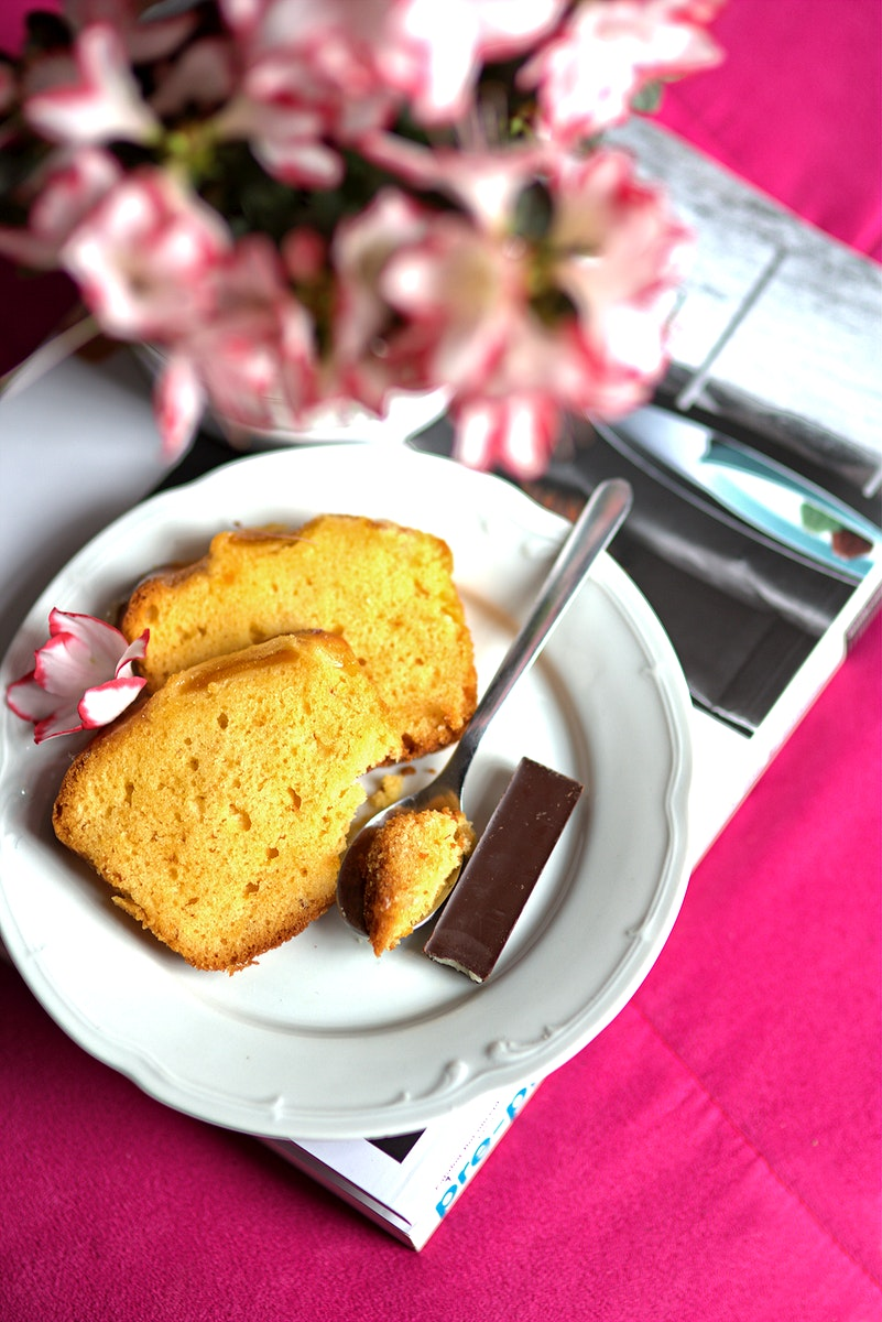 Pieces of vanilla sponge cake. Visit Kaboompics for more free images.