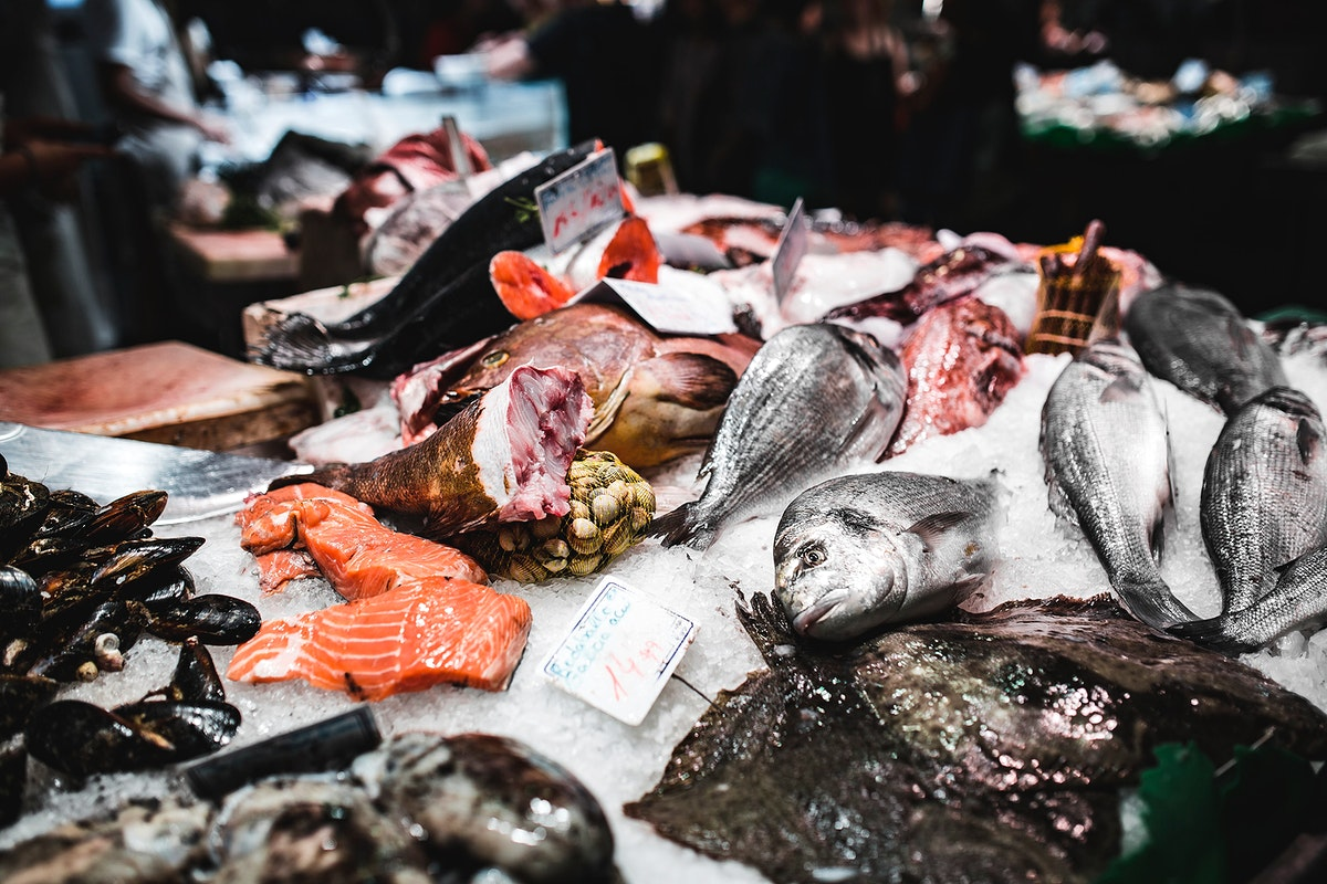 Fresh seafood on ice. Visit Kaboompics for more free images.