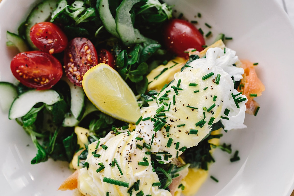 Eggs benedicite with salmon. Visit Kaboompics for more free images.