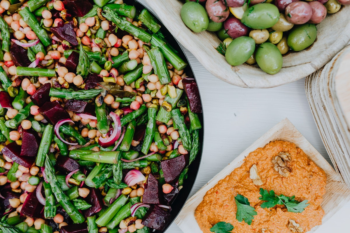 Lebanese salad and olives. Visit Kaboompics for more free images.
