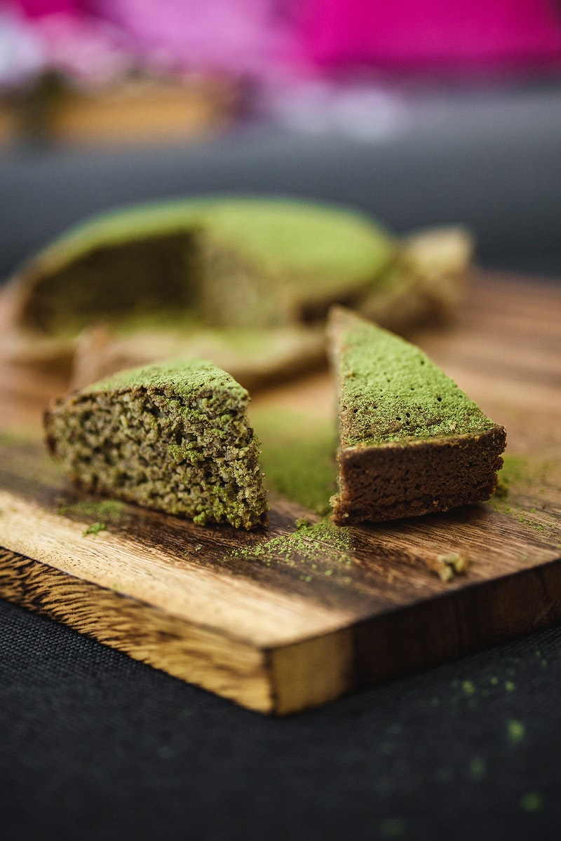 Close up of a green matcha cake. Visit Kaboompics for more free images.