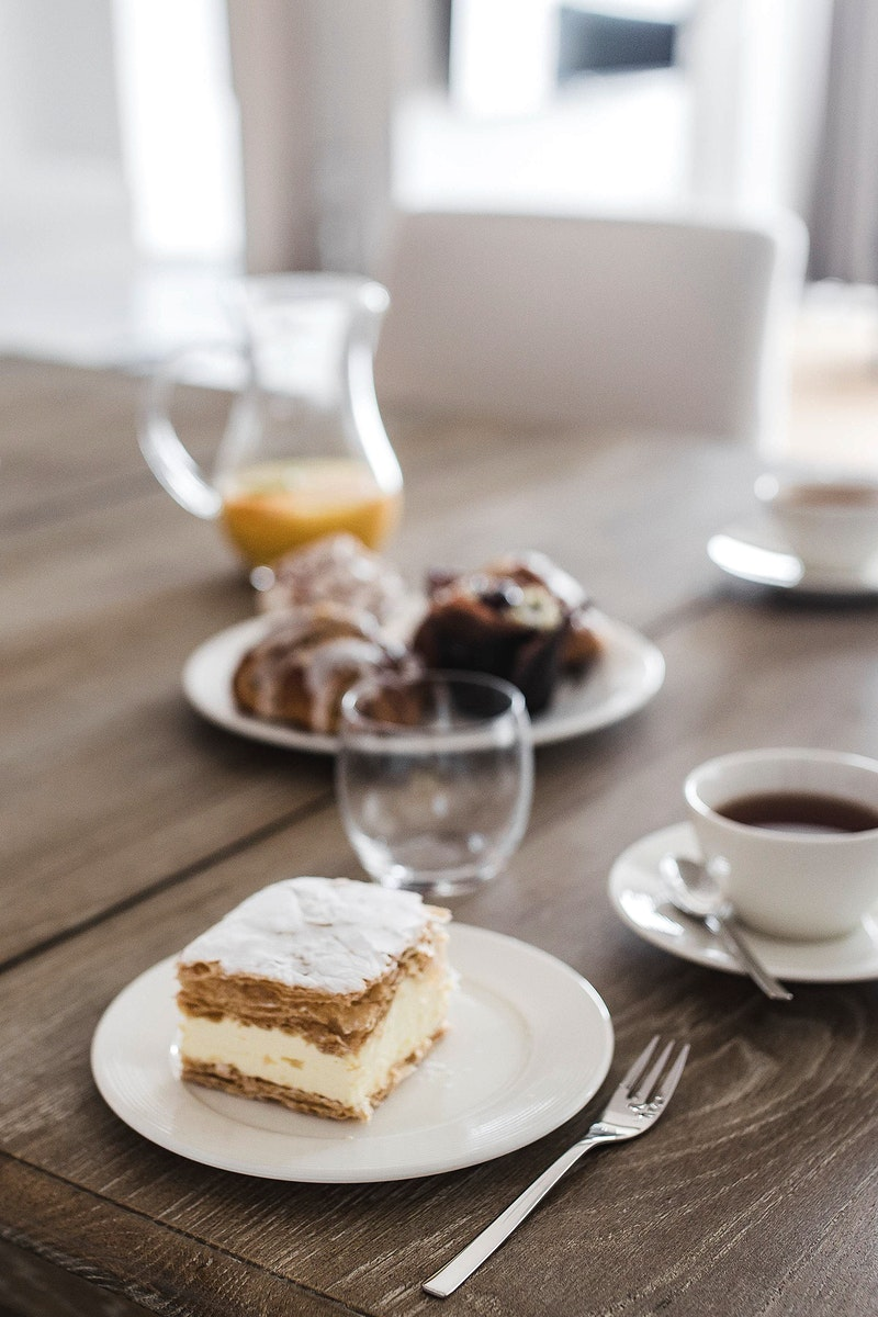 Piece of cake at a cafe. Visit Kaboompics for more free images.