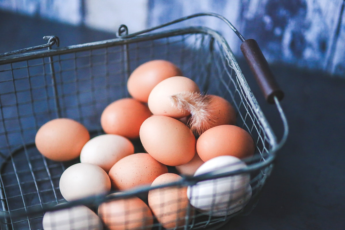 Basket of fresh chicken eggs. Visit Kaboompics for more free images.