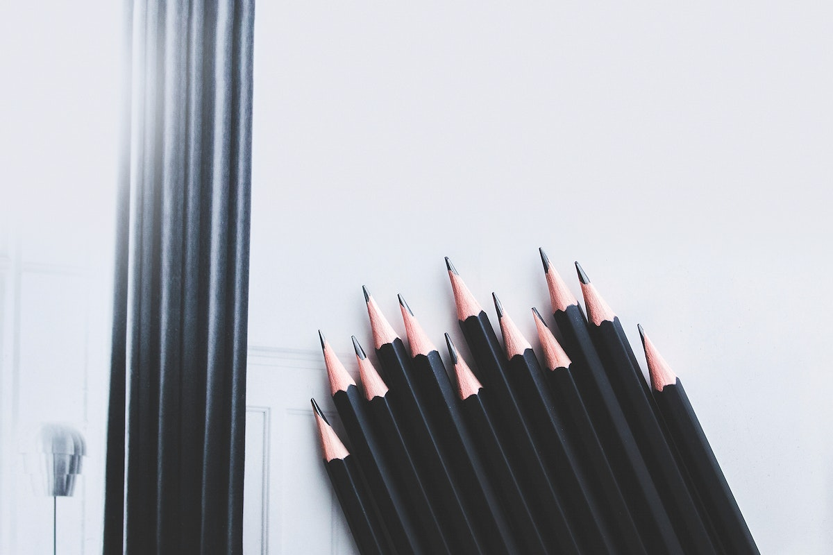 Pencils on a table. Visit Kaboompics for more free images.