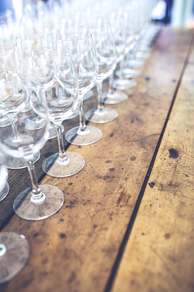 Rows of wine glasses. Visit Kaboompics for more free images.