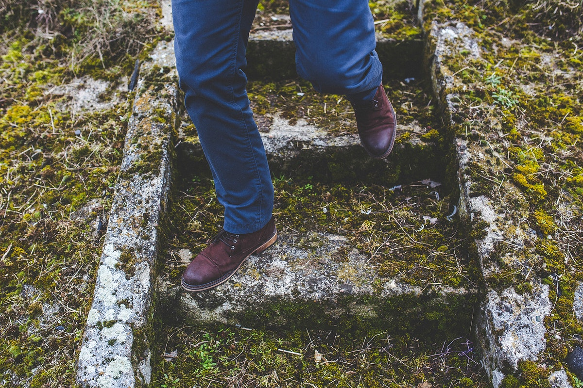 Man walking down the stairs. Visit Kaboompics for more free images.