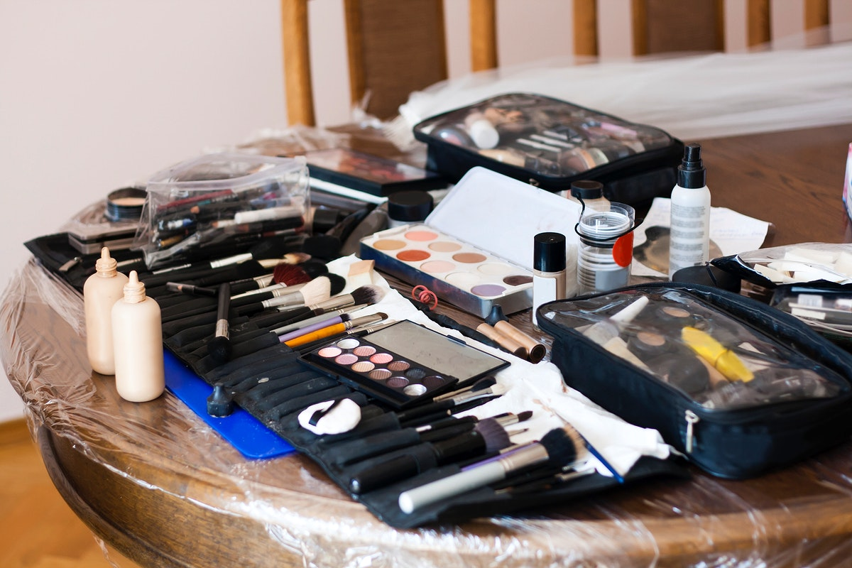 Makeup and makeup tools on a table. Visit Kaboompics for more free images.