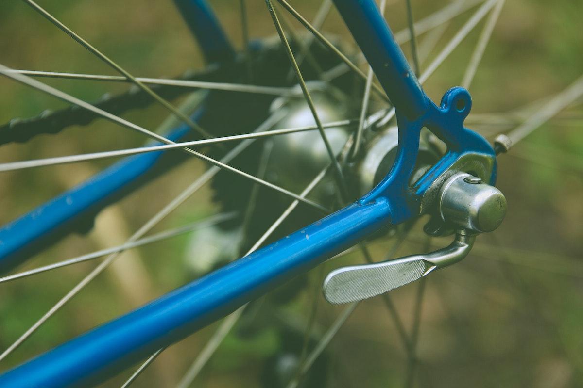 Close up of a bike adjustment lever
