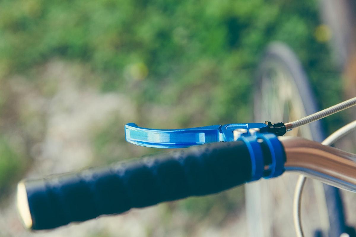 Close up of bike handlebars