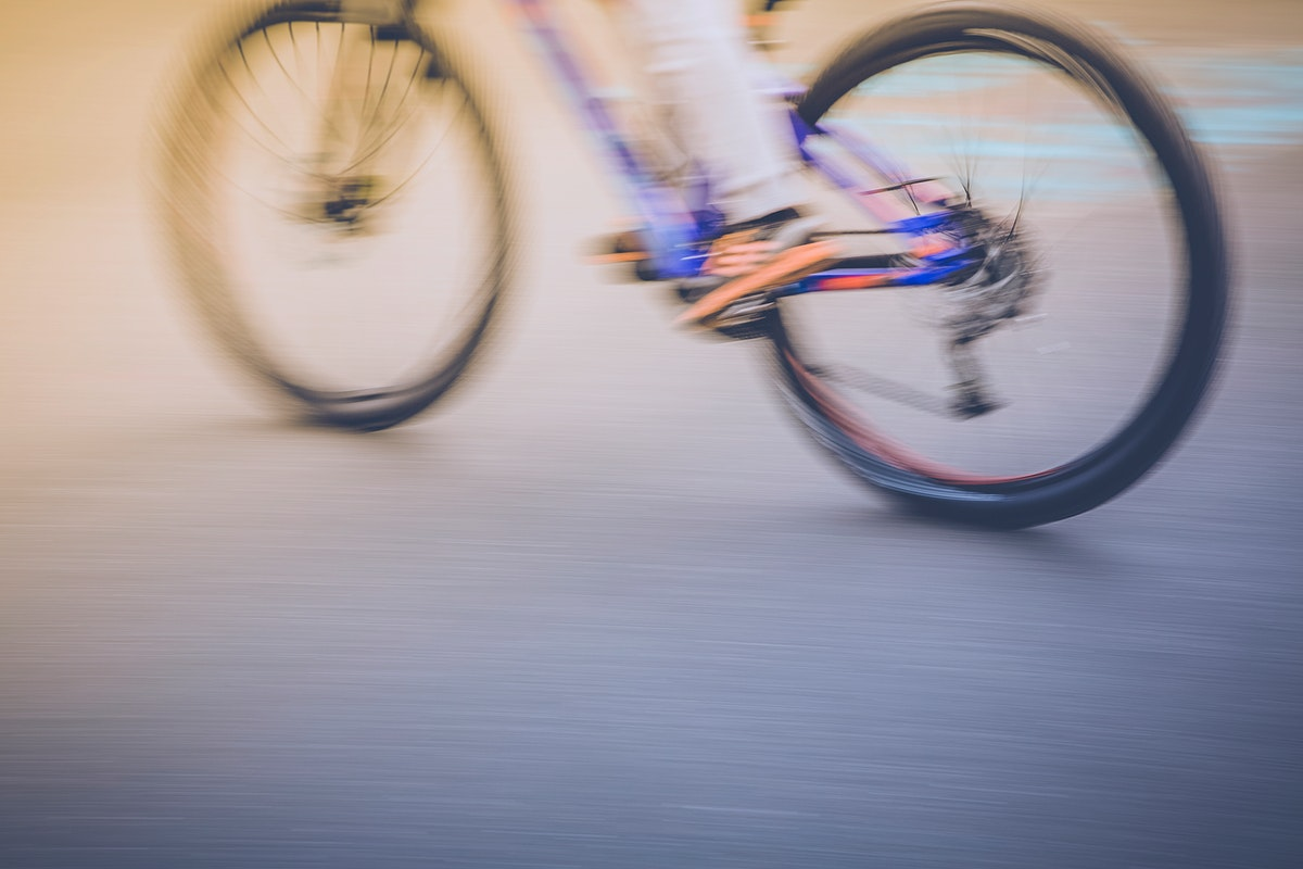 Mountain biker riding a mountain bike