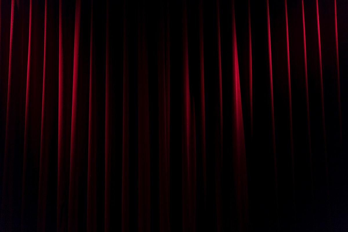 Close up of a red velvet curtain