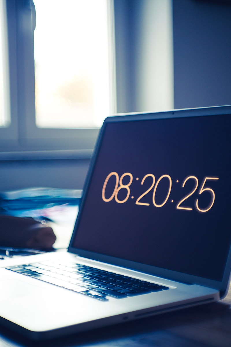 The time on a laptop screen