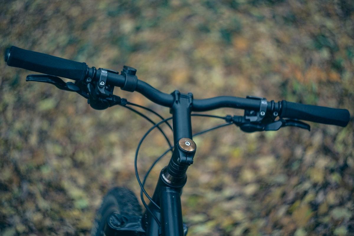 Close up of mountain bike handlebars