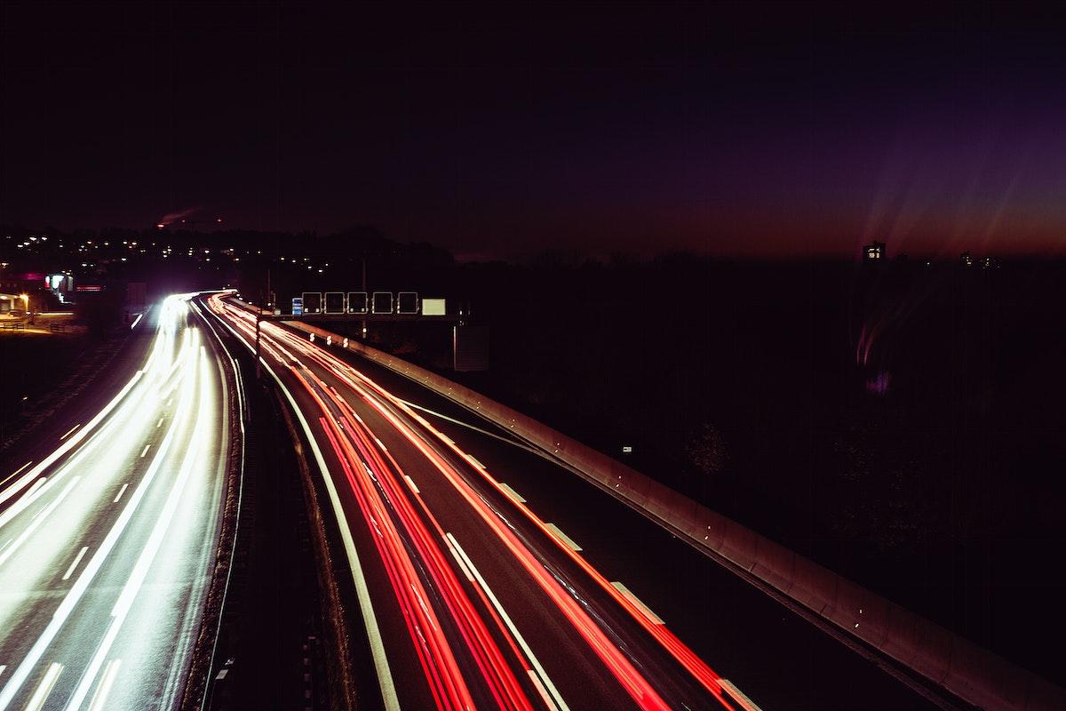 Long exposure traffic line at night
