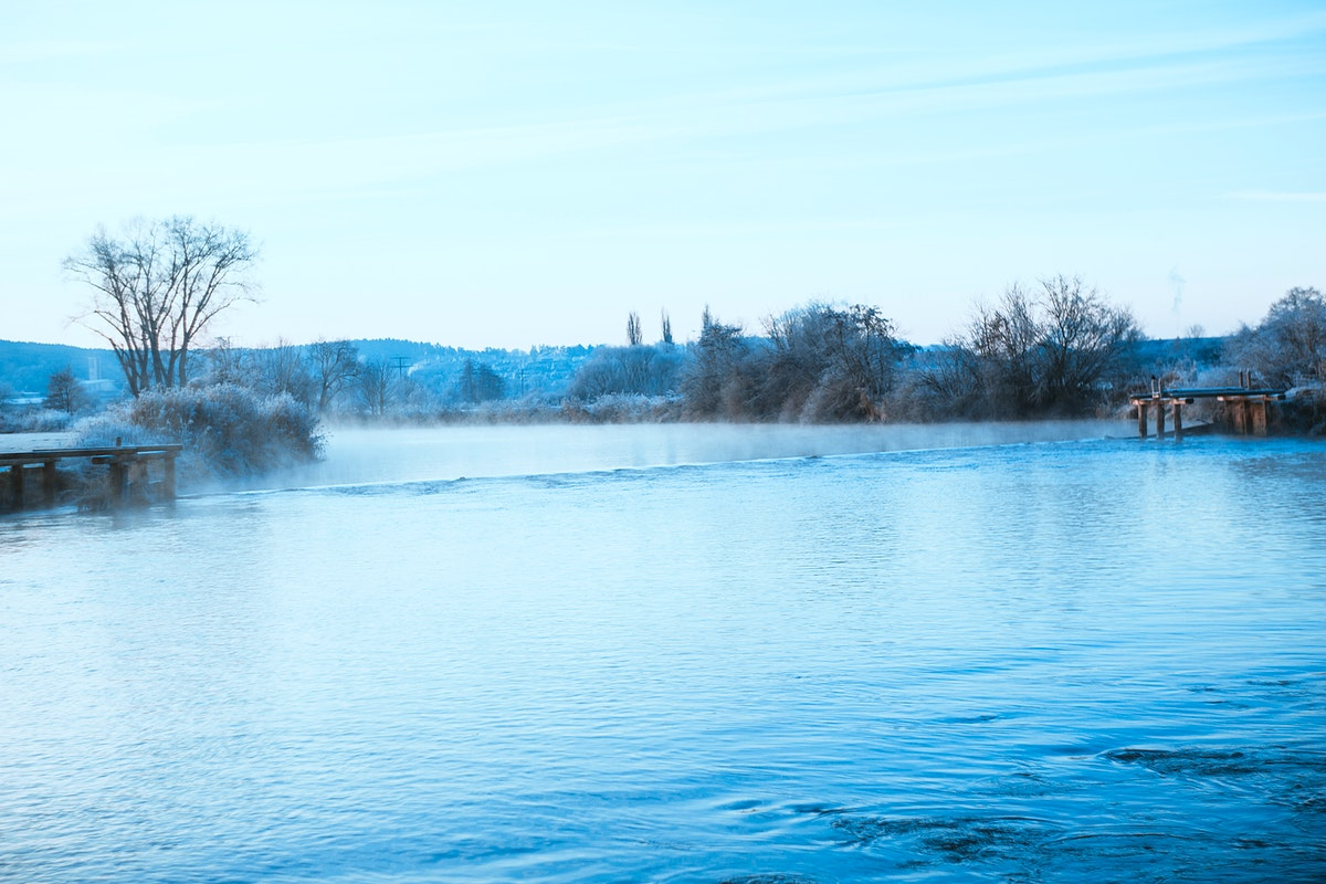 Mist on a river in Germany