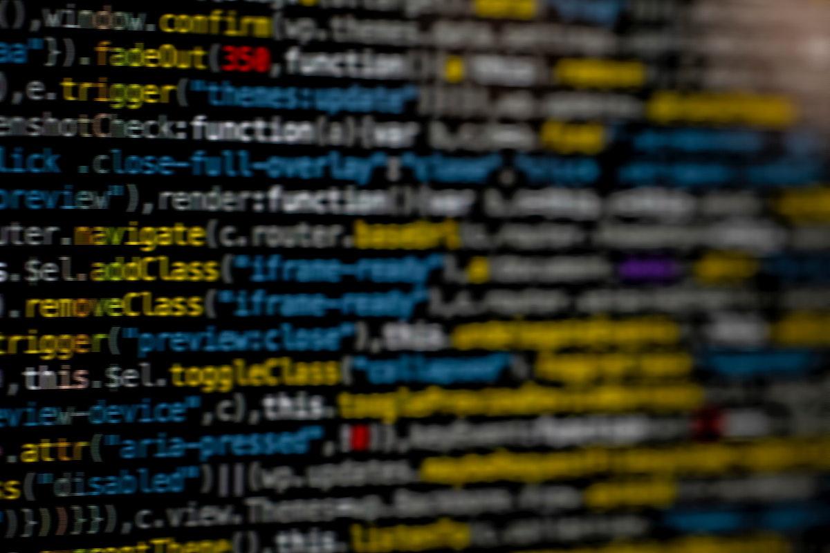 Closeup of binary coding on a screen