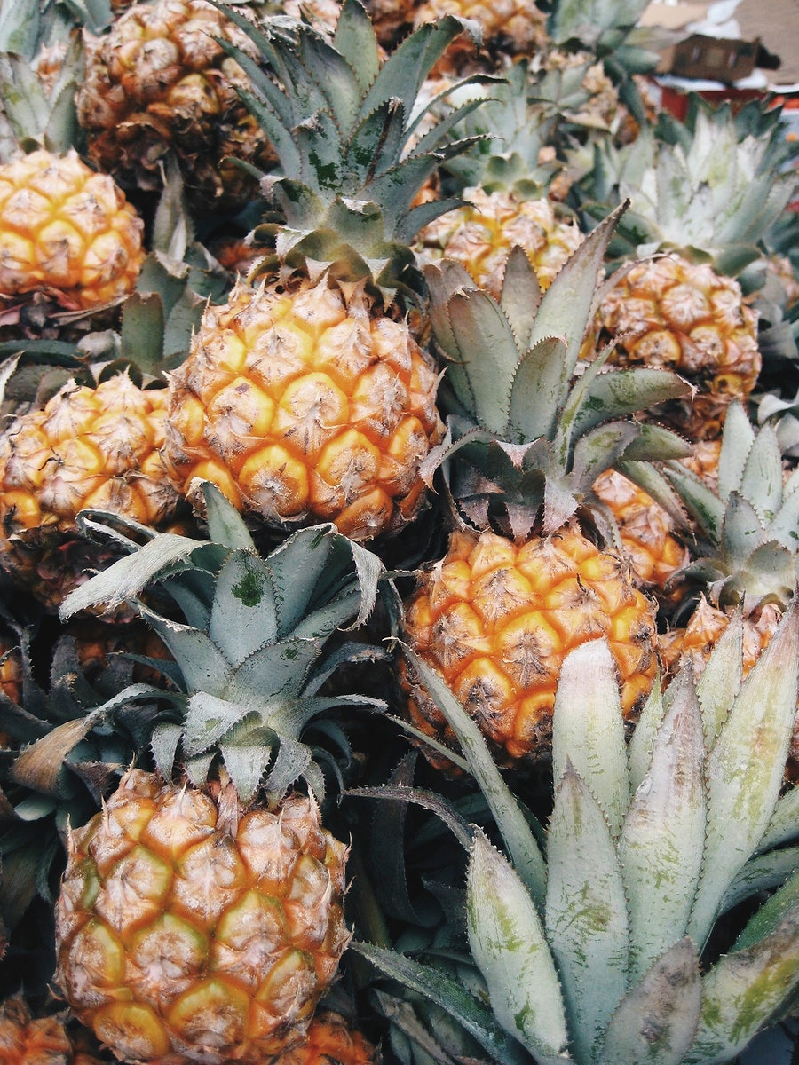 Closeup of small sweet pineapples