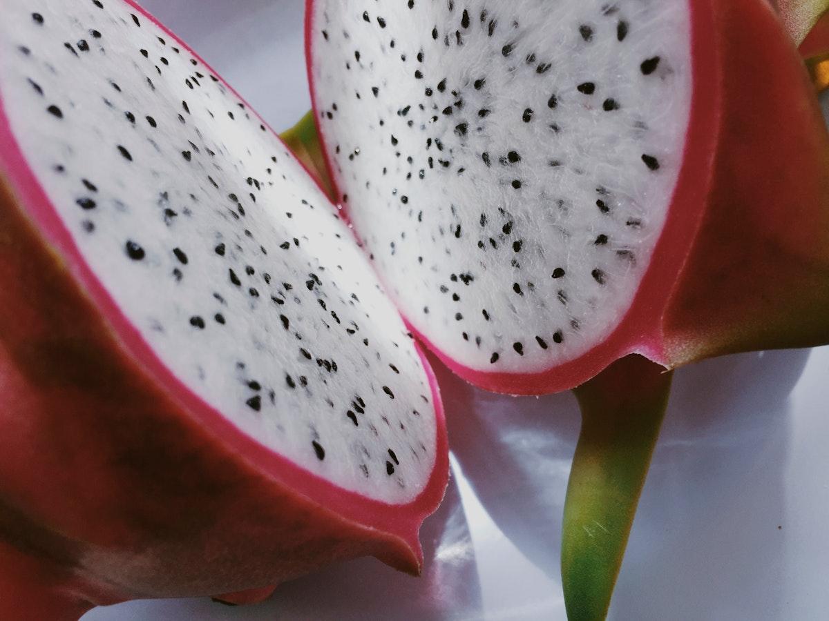 Sliced tropical dragon fruit