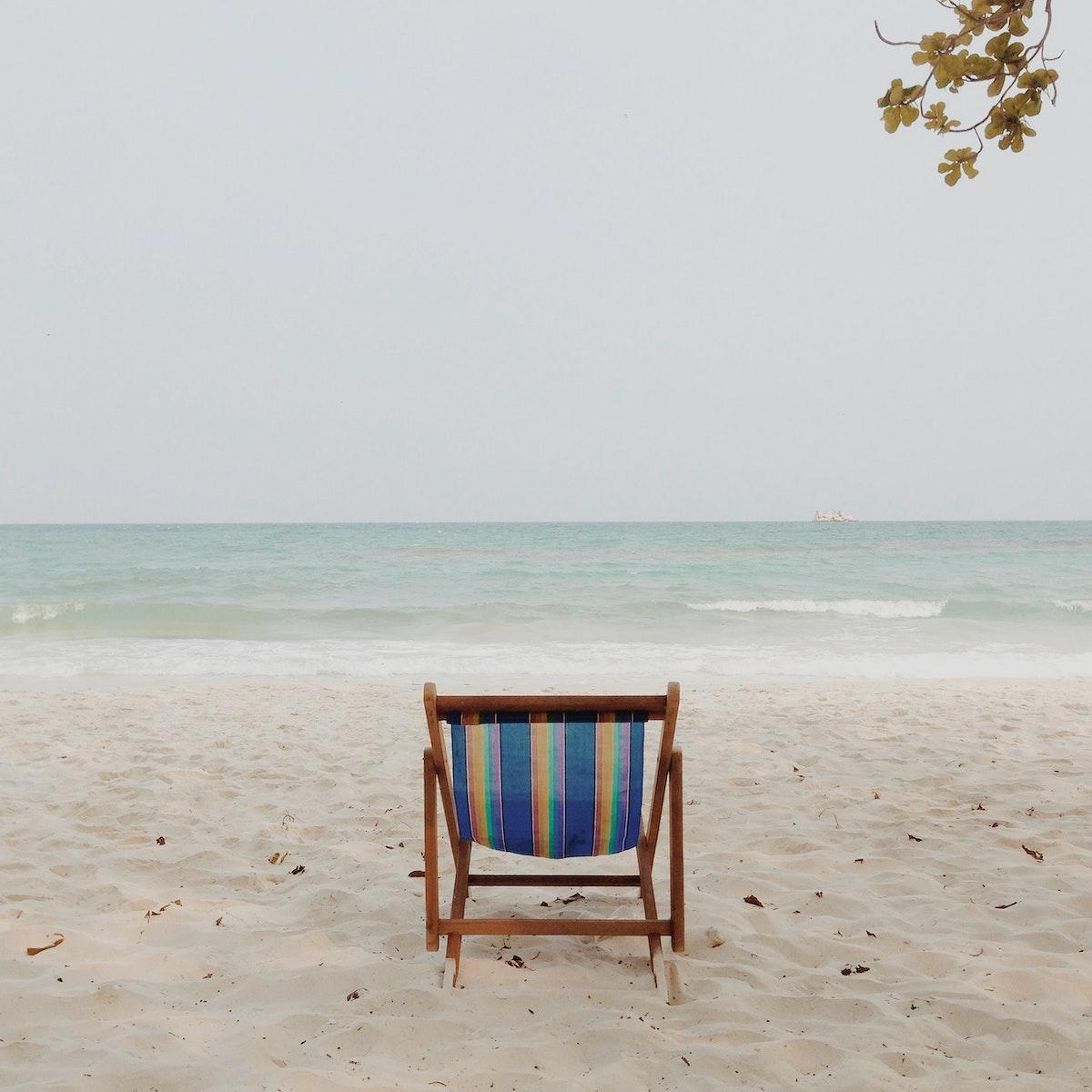 Beach chair on a beach in Thailand