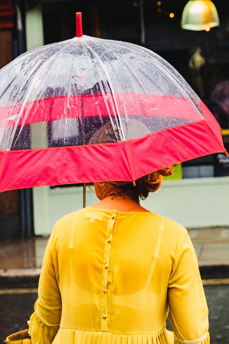 Woman with a cute umbrella