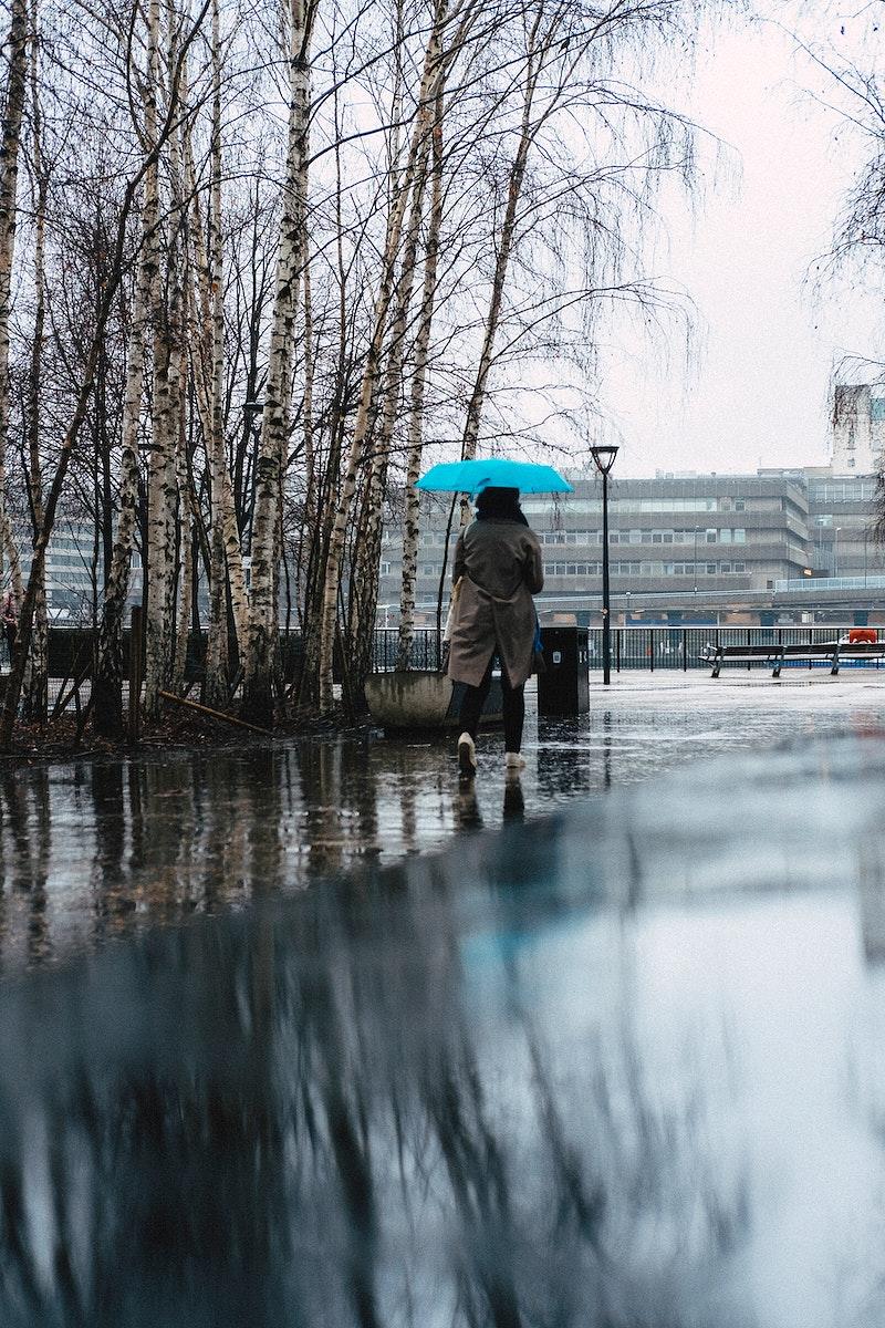 Woman walking through the rain