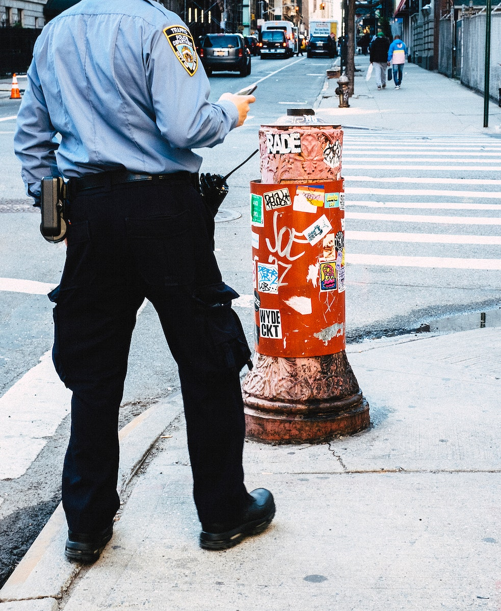 Police officer at work in New York City, United States