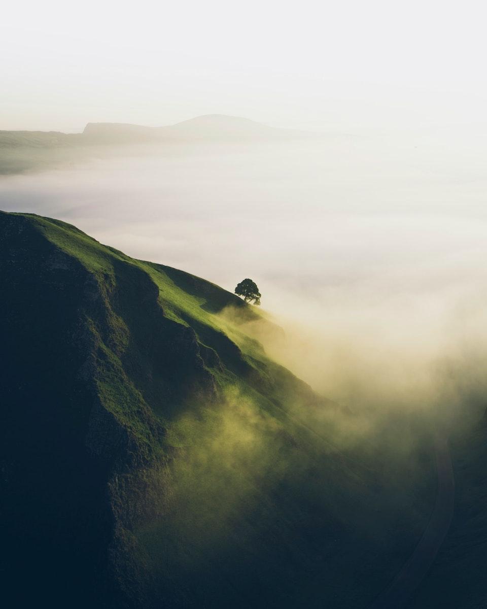 Winnats Pass in the Peak District of Derbyshire, England